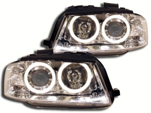 2 Phares avant Audi A3 8P Angel Eyes LED - Chrome