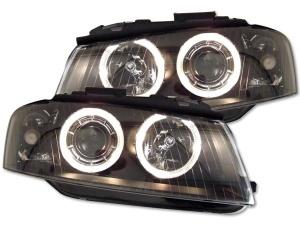 2 Phares avant Audi A3 8P Angel Eyes LED - Noir