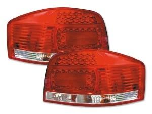 2 Feux arriere AUDI A3 8P LED 03-07 Rouge / Clair