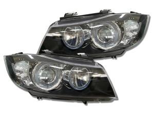 Phares avant BMW Serie 3 E90 E91 Angel Eyes LED 05-08 - Noir