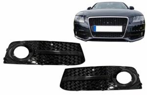 Grilles antibrouillard Audi A4 B8 07-11 - Noir brillant - look S4