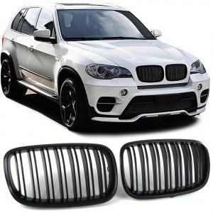 Grilles calandre BMW X5 E70 - X6 E71 07-13 - Noir Mat look M