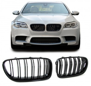 Grilles calandre BMW Serie 5 F10 F11 10-17 look M3 - Noir Brillant