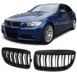 Grilles calandre BMW Serie 3 E90 E91 05-08 look M3 - Noir Mat