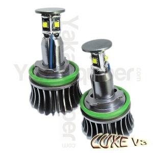 Pack Ampoule LED 25Watts anneaux H8 LUXE V3 angel eyes BMW E63 à E93 X1 X5 X6 - Blanc