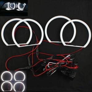 Pack 4 Anneaux Angel eyes LED cotton BMW E46 Sans Xenon Blanc