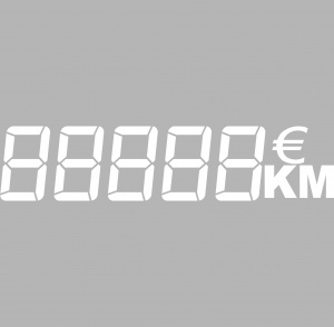 Vinyl adhesif lettrage chiffre / euro / km BLANC 60x14cm