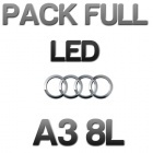 Pack Eclairage Full LED Audi A3 8L - Blanc pur