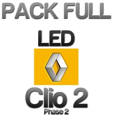 pack eclairage full led renault clio 2 phase 2 blanc pur yakaequiper. Black Bedroom Furniture Sets. Home Design Ideas