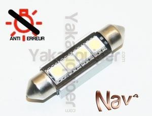 Navette 42mm LED Nav<sup>4</sup> SMD - Anti Erreur OBD - C10W - Blanc Pur