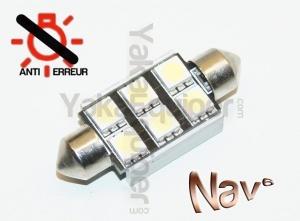 Navette 39mm LED Nav<sup>6</sup> SMD - Anti Erreur OBD - C5W - Blanc Pur