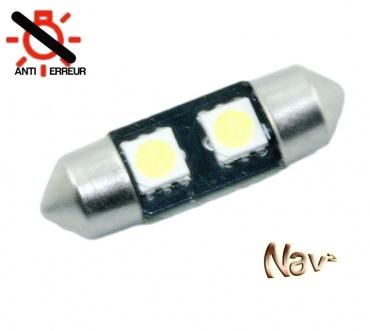 Navette 37mm LED Nav<sup>2</sup> SMD - Anti Erreur OBD - Culot C5W - Blanc Pur