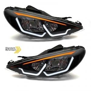 Phares avant Peugeot 206 Angel Eyes LED 3D - dynamiques - Noir