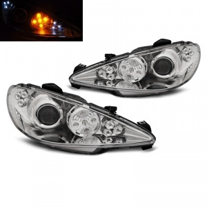 Phares avant Peugeot 206 phase 2 02-08 - LED cligno LED - Chrome