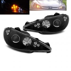 Phares avant Peugeot 206 phase 2 02-08 - LED cligno LED - Noir