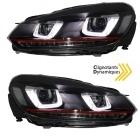 Phares avant VW GOLF 6 3D LED 08-13 Noir+rouge - dynamiques
