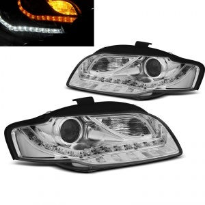 Phares LED AUDI A4 B7 (8E) 04-08 - look xenon - Chrome