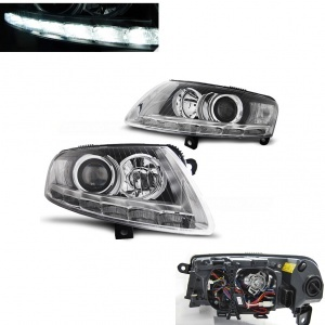 Phares avant AUDI A6 C6 Xenon - Devil LED DRL - Chrome