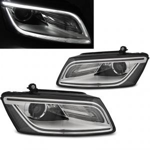 Phares avant Audi Q5 08-12 LED - chrome gris look facelift