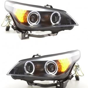 Phares avant BMW Serie 5 E60/E61 Xenon Angel Eyes LED 03-04 - Noir