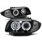 Phares avant BMW Serie 1 E81 E82 E87 E88 Angel Eyes - Noir