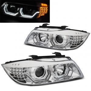 2 Phares BMW Serie 3 E90 E91 Angel Eyes LED 05-08 look Iconic - Chrome