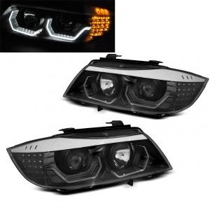 2 Phares BMW Serie 3 E90 E91 Angel Eyes LED 05-08 look Iconic - Noir