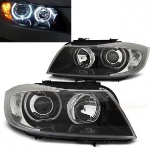 2 Phares avant BMW Serie 3 E90 E91 Angel Eyes LED V2 DEPO 05-11 - Noir