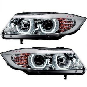 2 Phares BMW Serie 3 E90 E91 Angel Eyes 3D LED 05-12 - Chrome