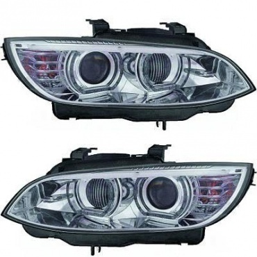 Phares xénon BMW Serie 3 E92 E93 Coupe Angel Eyes LED U-LTI 05-10 - Chrome
