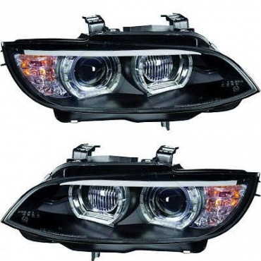 Phares xénon BMW Serie 3 E92 Coupe Angel Eyes LED U-LTI 05-10 - Noir