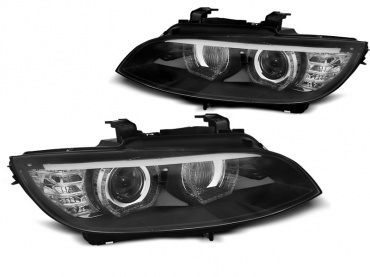 Phares xénon BMW Serie 3 E92 Coupe Angel Eyes LED U-LTI 05-08 - Noir