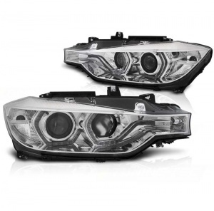 2 Phares BMW Serie 3 F30 Angel Eyes LED 11-15 look LCI xenon - Chrome