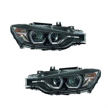 2 phares avant bmw serie 3 f30 angel eyes led 11 15 noir yakaequiper. Black Bedroom Furniture Sets. Home Design Ideas