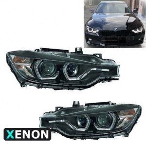 2 Phares xénon BMW Serie 3 F30 F31 Angel Eyes LED 11-15 - Noir