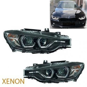 2 Phares xénon BMW Serie 3 F30 F31 Angel Eyes LED 11-15 - Noir
