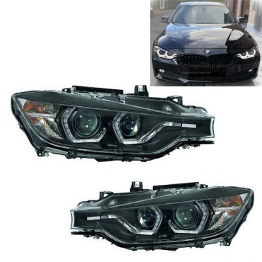 2 Phares avant BMW Serie 3 F30 Angel Eyes LED 11-15 - Noir