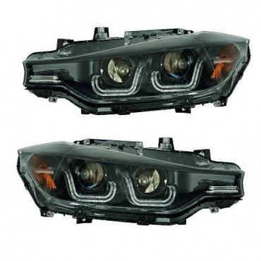 2 phares avant bmw serie 3 f30 angel eyes xenon led 11 15 noir yakaequiper. Black Bedroom Furniture Sets. Home Design Ideas