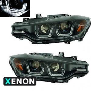 2 Phares avant BMW Serie 3 F30 Angel Eyes Xenon LED 11-15 - Noir