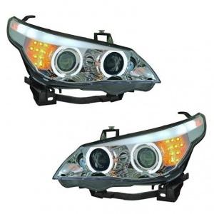 Phares avant BMW Serie 5 E60/E61 halogene Angel Eyes CCFL 03-07 - Chrome