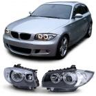 Phares avant BMW Serie 1 E81 E87 Angel Eyes V1 DEPO 04 et + - Noir