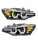 2 Phares avant BMW Serie 3 F30 F31 Angel Eyes 3D LED 11-15 - Noir