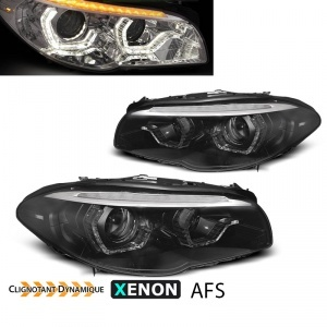 2 Phares xenon AFS BMW Serie 5 F10 F11 Angel Eyes LED 10-13 look Iconic - Noir