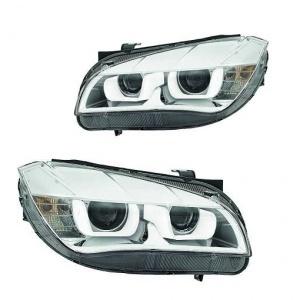 2 Phares avant BMW X1 E84 Angel Eyes 3D LED 12-14 - Chrome