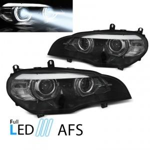 2 Phares fullLED AFS BMW X5 E70 Angel Eyes LED 07-13 - Noir