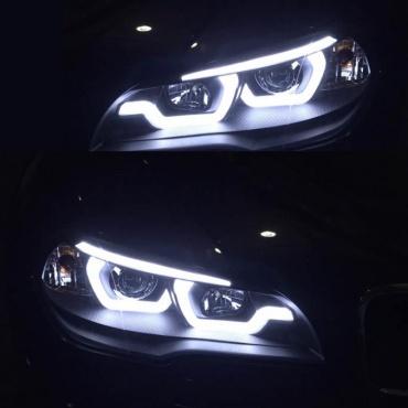 Phares xenon BMW X5 E70 Angel Eyes iconic LED 07-13 - Chrome