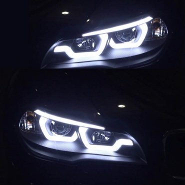 Phares xenon BMW X5 E70 Angel Eyes iconic LED 07-13 - Noir