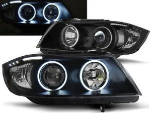 2 Phares avant BMW Serie 3 E90 E91 Angel Eyes CCFL 05-08 - Noir