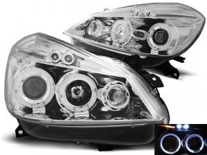2 Phares avant Renault Clio 3 05-09 Angel Eyes LED - Chrome