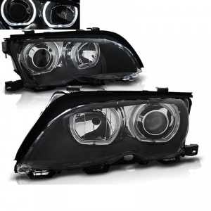 Phares avant BMW E46 Berline Angel Eyes LED Depo V2 - 01-05 - Noir